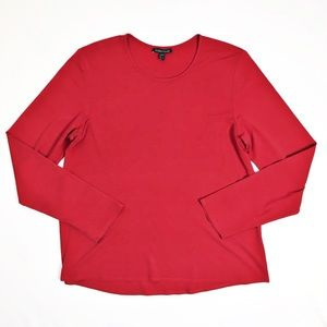 Eileen Fisher 100% Silk Long Sleeve Red Top